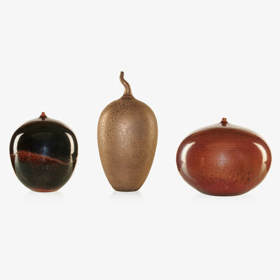 Cliff Lee, 'Two tenmoku vases and one oil spot vase with twisted stem, Stevens, PA'