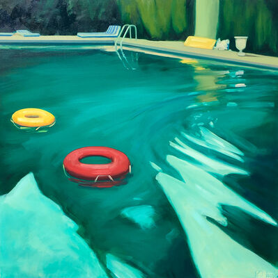 """T.S. Harris, '""""Swimming Pool"""" Dark Teal pool in Evening Light with Orange and Red tubes', 2010-2018"""