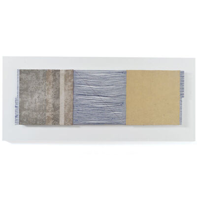 Chiyoko Tanaka, 'Grinded Fabric-Three Squares Blue Threads and Gray #674', 2005