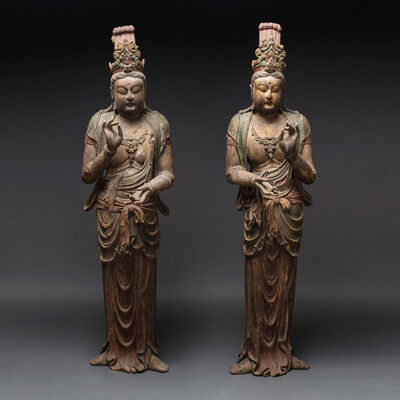 Unknown Chinese, 'Pair of Lacquered Wooden Sculptures of Bodhisattvas', 1500 AD to 1800 AD