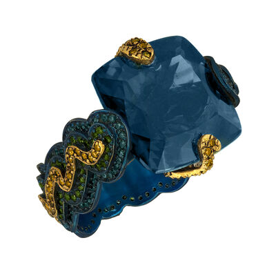 William Ehrlich, 'Zig Zag Ring (Orange & Blue Diamonds with Blue Topaz)', 2015