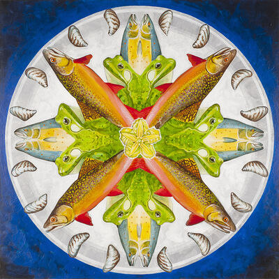 Zac Culler, 'Atlantic Salmon, American Bullfrog, Brook Trout, Zebra Mussel, Yellow Floating Heart', 2018