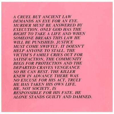"Jenny Holzer, 'Eye for an Eye, ""Inflammatory Essay"" (from Documenta 1982)', 1982"