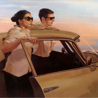 "Joseph Lorusso, '""Taking it All In"" oil painting a woman and man wearing sunglasses standing with a yellow car against a pastel sunset', 2010-Present"