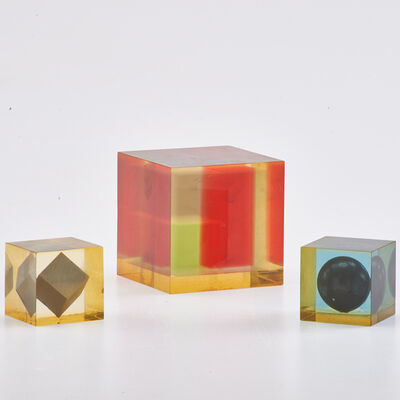 "Danese, 'Three Modernist ""Cubo"" sculptures, two with  floating geometric inclusions', 1950s"