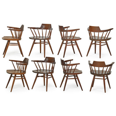 George Nakashima, 'Set Of Eight Captain's Chairs, New Hope, PA', 1964
