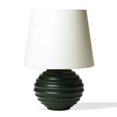 Ewald Albin Filip Dahlskog, 'Important table lamp with horizontal channeling and deep green glaze', ca. 1930