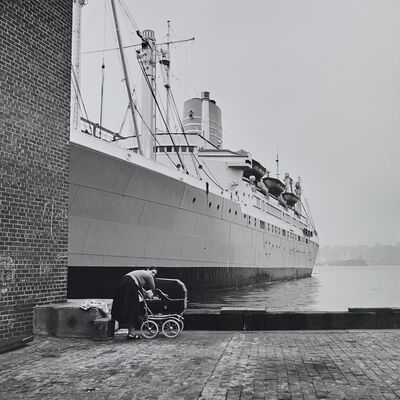 Vivian Maier, 'VM1956W03023  - 1956, Woman with Stroller and Ship', Printed 2017