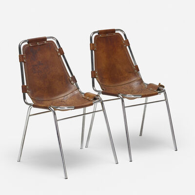 Charlotte Perriand, 'dining chairs from Les Arcs, pair', c. 1970