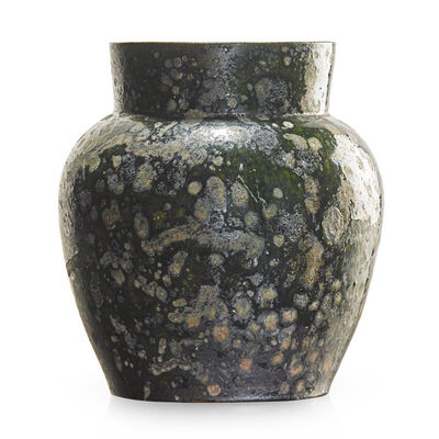 George Ohr, 'Large vase, green and gunmetal blister glaze, Biloxi, MS', 1897-1900