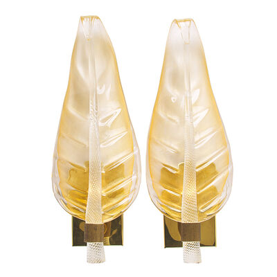 Barovier & Toso, 'Pair of large leaf sconces, Murano, Italy'