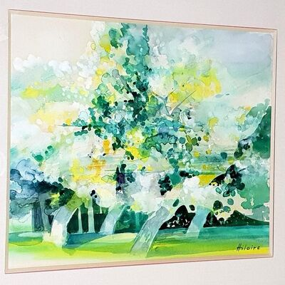 Camille Hilaire, 'Camille Hilaire - Green Trees - Original Signed Watercolor  ', ca. 1970