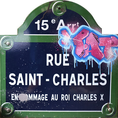 """FAT, 'Typical street plate of Paris  """"rue Saint Charles"""" - 15th District', 2019"""