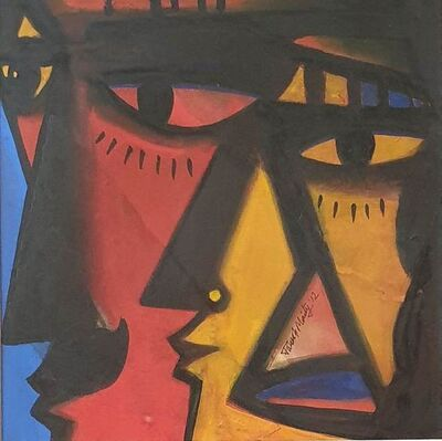 """Paresh Maity, 'Untitled, Oil, Acrylic & Mixed Media on Board, Red, Yellow, Blue colours by Contemporary Artist """"In Stock""""', 2012"""