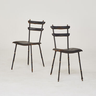 Attributed to Jacques Adnet, 'Pair of side chairs', 1950s