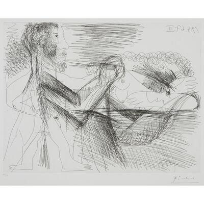 Pablo Picasso, 'Homme Assis Près d'une Femme Allongeé'
