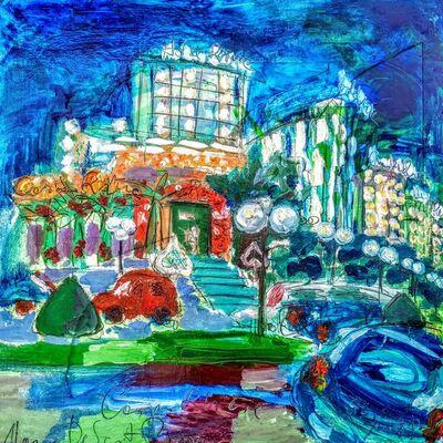 Norma de Saint Picman, 'Water series summer 2019 - plein air in situ paintings, Casino Riviera, night', 2019