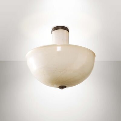 Tomaso Buzzi, 'a gold-leafed milk glass ceiling lamp', 1931