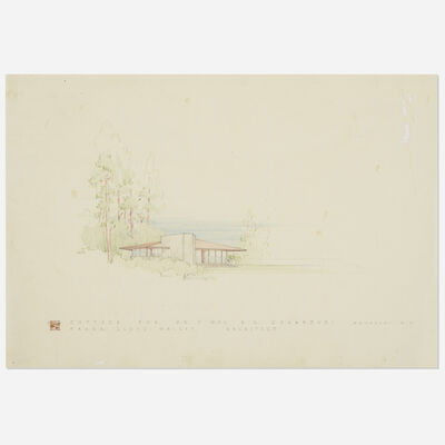 Frank Lloyd Wright, 'Presentation drawing for the Chahroudi Cottage, Mahopac, New York', 1951