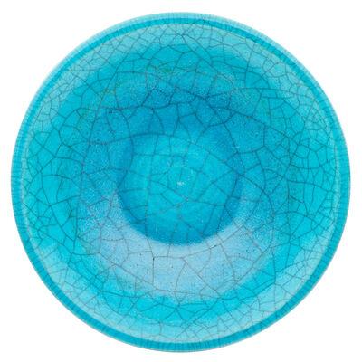 Glen Lukens, 'Fine large bowl, crackled turquoise drip glaze, Los Angeles, CA'