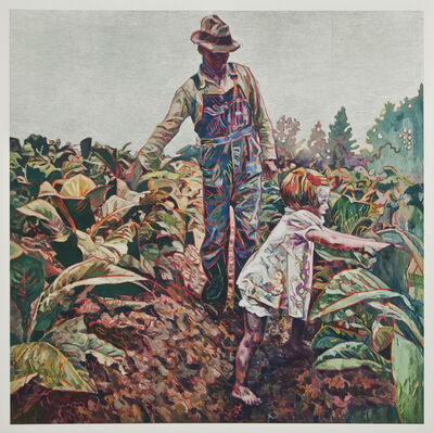 Hung Liu, 'Tobacco Sharecroppers (Silver) 9/9'