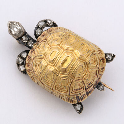 Unknown, 'Victorian Diamond and Gold Turtle Brooch', ca. 1870