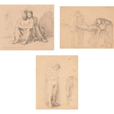 Pavel Tchelitchew, '(i) Untitled (T112); (ii) Study for Fallen Acrobat; (iii)Untitled, Maternity'