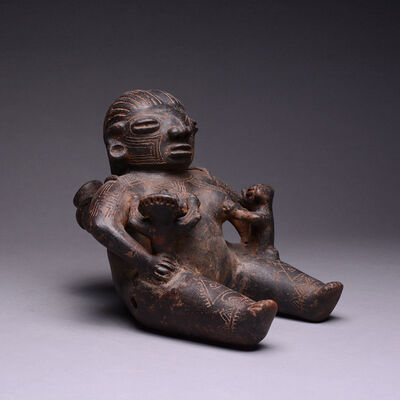 Unknown Pre-Columbian, 'Nursing Seated Female', 500 AD to 1000 AD