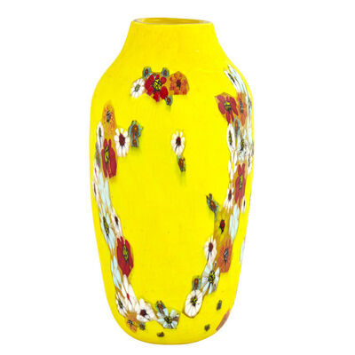 Vittorio Ferro, 'Marquetry Glass Vase with Yellow Glass Casing and Fused Murrine'