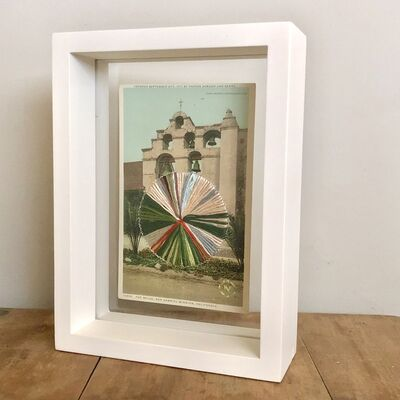 Natalie Ciccoricco, 'The Bells - Embroidery on Vintage Postcard of San Gabriel Mission in California', 2019