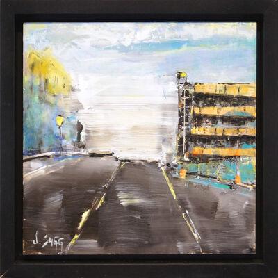 Janice Sugg, 'Impressionist Cityscape Painting 'Orange Garage' Abstract City Art, Urban Life Scene', 2017
