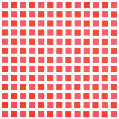 François Morellet, 'Répartition régulière de carrés, 1 sur 2 rouge-rose, 1 sur 2 rouge-orange', 1975