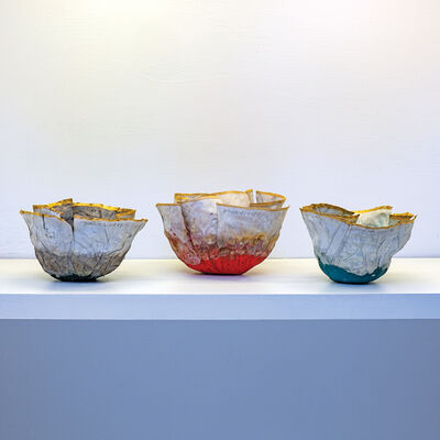 Jin-Sook So, 'Red, Green and Blue Flower Bowls', 2018