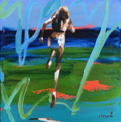 "Elizabeth Lennie, '""Summer 2018 #2"" Abstract oil Painting of Girl Jumping into the Water with Blue and Green background', 2010-2018"