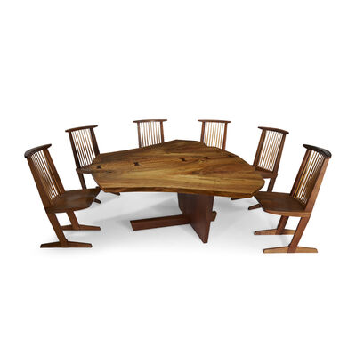 "George Nakashima, 'The Frosh Family Sanso ""Reception House"" Table and Set of Six Conoid Chairs, New Hope, Pennsylvania', 1981"