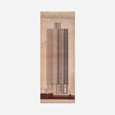 Bertrand Goldberg, 'River City III elevation', c. 1985
