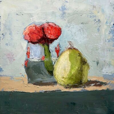 """Anne Harney, '""""Tulips and Pear"""" painterly still life of red lowers in a clear vase with green pear', 2010-2018"""