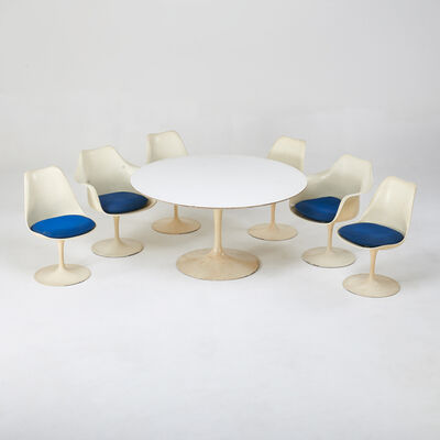 Eero Saarinen, 'Tulip dining suite: table and six chairs, four side and two arm', ca. 1970s