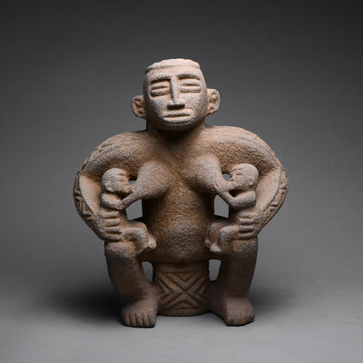 Unknown Costa Rican, 'Basalt Sculpture of a Mother Nursing Twins', 500 AD to 1000 AD