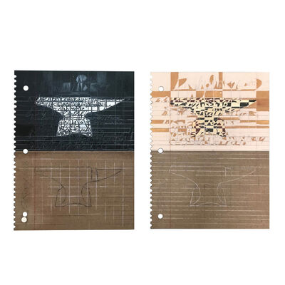 Ed Rainey, 'Drawing Notes (Anvil) Diptych', 2018