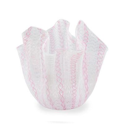 Venini, 'Fazzoletto Vase by Venini 1950s mid-century design Murano glass Zanifirco Technique in Pink and White Italy', ca. 1950