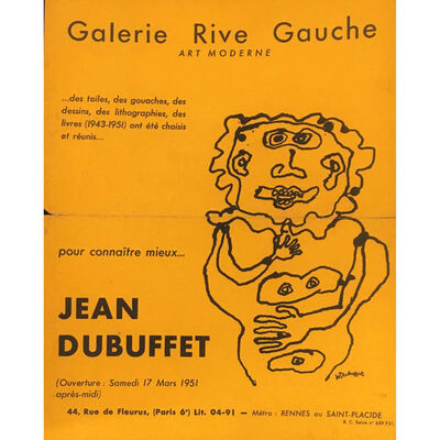 Jean Dubuffet, 'Jean Dubuffet 1950s exhibition announcement', 1951