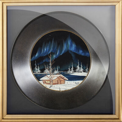 Bob Ross, 'Bob Ross Signed Original Oil on Velvet inside Gold Pan Painting Contemporary Art', 1970-1990