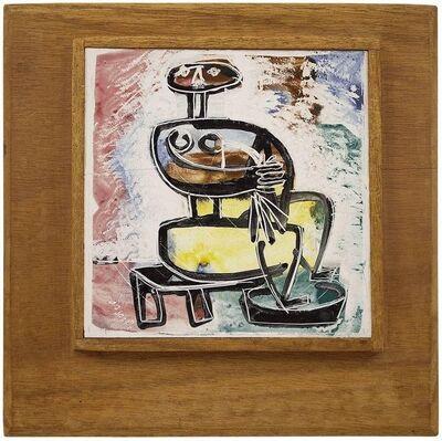 Steven Alexander, 'Painted Modernist Nude Figure Ceramic Plaque, Israeli Painting', Mid-20th Century
