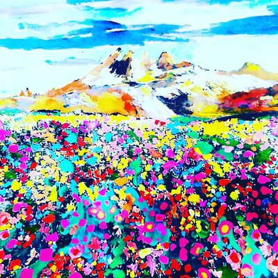 Andee Axe, 'Mountains and Flowers', 2020