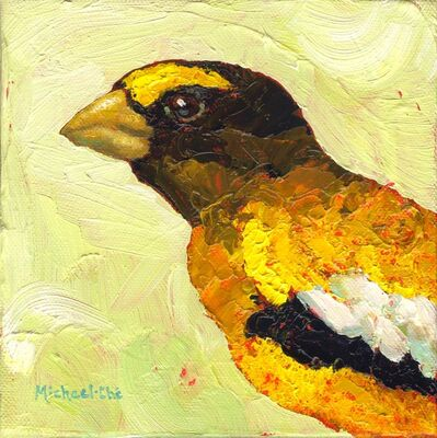 """Michael-Che Swisher, '""""Daily Duties"""" impasto oil painting of a gold finch on a yellow background', 2010-2017"""