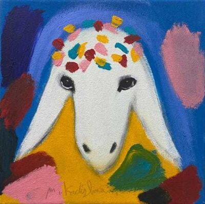 Menashe Kadishman, 'BLUE SMALL SHEEP', 2020