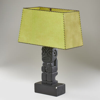 Rima, 'Totemic table lamp with parchment shade'