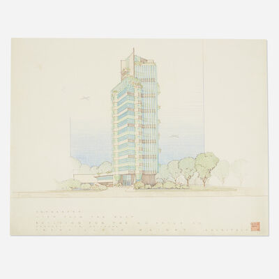 Frank Lloyd Wright, 'Presentation drawing for Price Tower, Bartlesville, Oklahoma', 1952