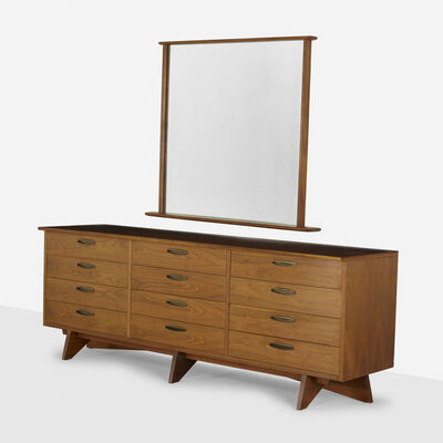 George Nakashima, 'Chest, model 212-L and mirror, model 270-W', c. 1950